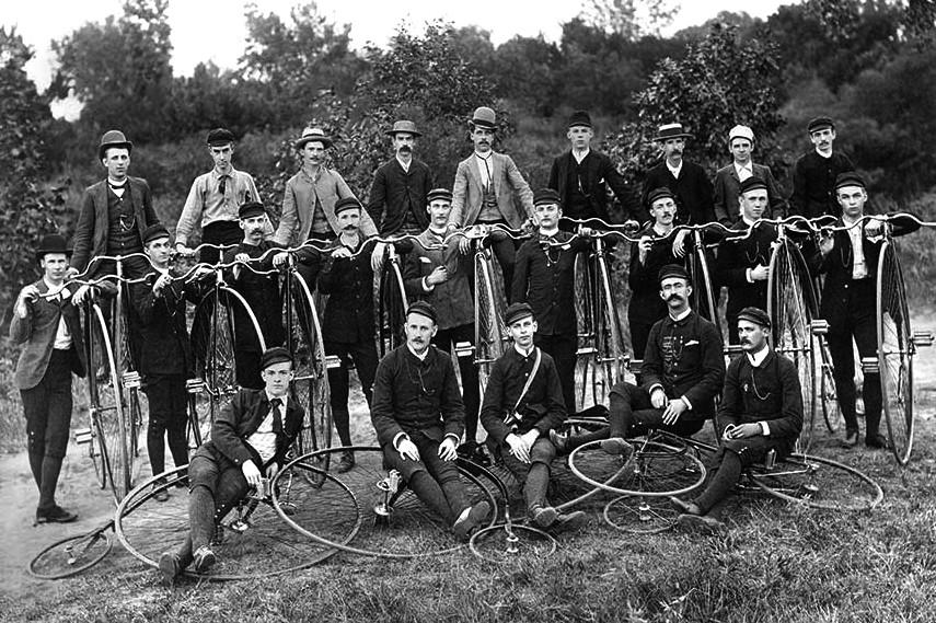High Wheel Bicycle Club Group Photo - circa 1895